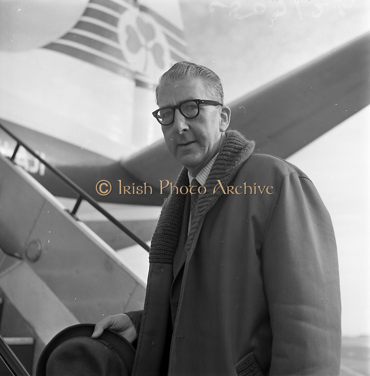 10/05/1965<br /> 05/10/1965<br /> 10 May 1965<br /> Mr. Osmund G. Dowling, left, director of the Dublin Diocesan Press Office, leaves from Dublin Airport en route to Germany for a 12-day information tour. The tour was sponsored by the Press Office of the Government of the Federal Republic of Germany. Dowling joined a party of 12 world representatives of the Geneva Ecumenical Church and the Roman Catholic Church from Belgium, Finland, France, Greenland, Great Britain, Italy, The Netherlands, Norway, Austria, Portugal, Sweden and Ireland.