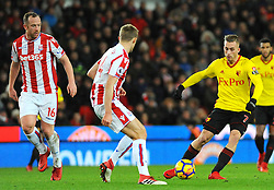 Gerard Deulofeu of Watford  tries to get past Darren Fletcher of Stoke City - Mandatory by-line: Nizaam Jones/JMP - 31/01/2018 - FOOTBALL - Bet365 Stadium - Stoke-on-Trent, England - Stoke City v Watford - Premier League