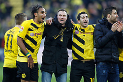 "28.02.2015, Signal Iduna Park, Dortmund, GER, 1. FBL, Borussia Dortmund vs FC Schalke 04, 23. Runde, im Bild vl: Pierre-Emerick Aubameyang (Borussia Dortmund #17), Kevin Grosskreutz (Borussia Dortmund #19), Henrikh ""Micki"" Mkhihtaryan (Borussia Dortmund #10) und Sokratis (Borussia Dortmund #25) // during the German Bundesliga 2rd round match between Borussia Dortmund and FC Schalke 04 at the Signal Iduna Park in Dortmund, Germany on 2015/02/28. EXPA Pictures © 2015, PhotoCredit: EXPA/ Eibner-Pressefoto/ EXPA/ PIXSELL/ Schüler-<br /> <br /> *****ATTENTION - OUT of GER*****"