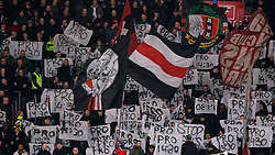 Supporters with protest banners during the Dutch Eredivisie match round 25 between Ajax Amsterdam and AZ Alkmaar at the Johan Cruijff Arena on March 01, 2020 in Amsterdam, Netherlands