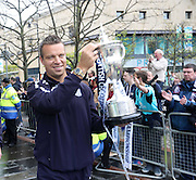 Gavin Rae shows the cup to the fans on arrival at the city square - Dundee FC civic reception at Dundee City Chambers<br /> <br />  - &copy; David Young - www.davidyoungphoto.co.uk - email: davidyoungphoto@gmail.com