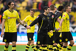 19.10.2013, Signal Iduna Park, Dortmund, GER, 1. FBL, GER, 1. FBL, Borussia Dortmund vs Hannover 96, 9. Runde, im Bild Jubel Neven Subotic (#4 Dortmund), Henrikh Mkhitaryan (#10 Dortmund), Kevin Großkreutz / Grosskreutz (#19 Dortmund) nach dem Sieg // during the German Bundesliga 9th round match between Borussia Dortmund and Hannover 96 Signal Iduna Park in Dortmund, Germany on 2013/10/19. EXPA Pictures © 2013, PhotoCredit: EXPA/ Eibner-Pressefoto/ Kurth<br /> <br /> *****ATTENTION - OUT of GER*****