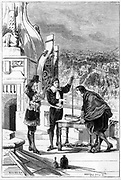 Blaise Pascal (1623-1662) French mathematician, physicist and religious philosopher.  Pascal carrying out experiments with the mercury barometer on the tower of St Jacques-la-Boucherie, Paris. From 'La Nature'. (Paris, 1878). Engraving.