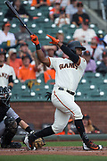 San Francisco Giants center fielder Denard Span (2) swings at a Colorado Rockies pitch at AT&T Park in San Francisco, California, on September 20, 2017. (Stan Olszewski/Special to S.F. Examiner)