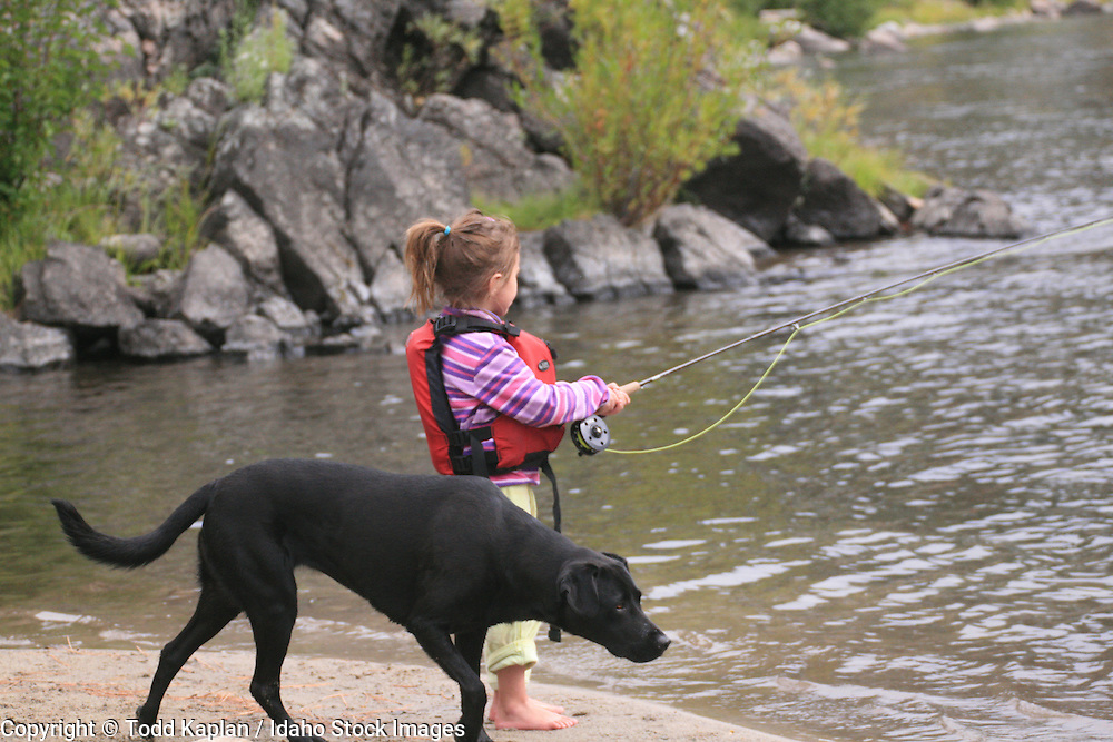Middle Fork Salmon River, Frank Church Wilderness, girl, Fisherman, dog fishing,