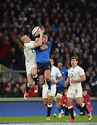 Twickenham, Great Britain, Mike BROWN, left and Gael FICKOU tussel for teh high ball during the Six Nations Rugby England vs France, played at the RFU Stadium, Twickenham, ENGLAND. <br /> <br /> Saturday   21/03/2015<br /> <br /> [Mandatory Credit; Peter Spurrier/Intersport-images]