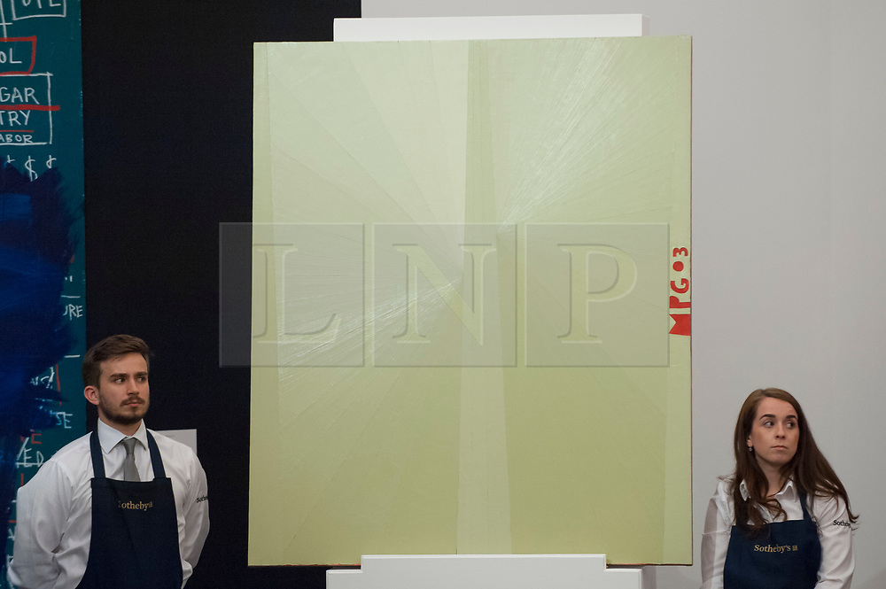 """© Licensed to London News Pictures. 28/06/2017. London, UK. """"Untitled (White Butterfly MPG 03)"""", 2003, by Mark Grotjahn sold for a hammer price of GBP3.4m (estimate GBP3-4m) at Sotheby's Contemporary Art evening sale in New Bond Street, which featured pioneering works from the Pop Art genre. Photo credit : Stephen Chung/LNP"""