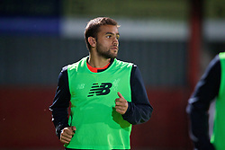 STEVENAGE, ENGLAND - Monday, September 19, 2016: Liverpool's substitute Juanma Garcia warms-up during the FA Premier League 2 Under-23 match against Tottenham Hotspur at Broadhall. (Pic by David Rawcliffe/Propaganda)