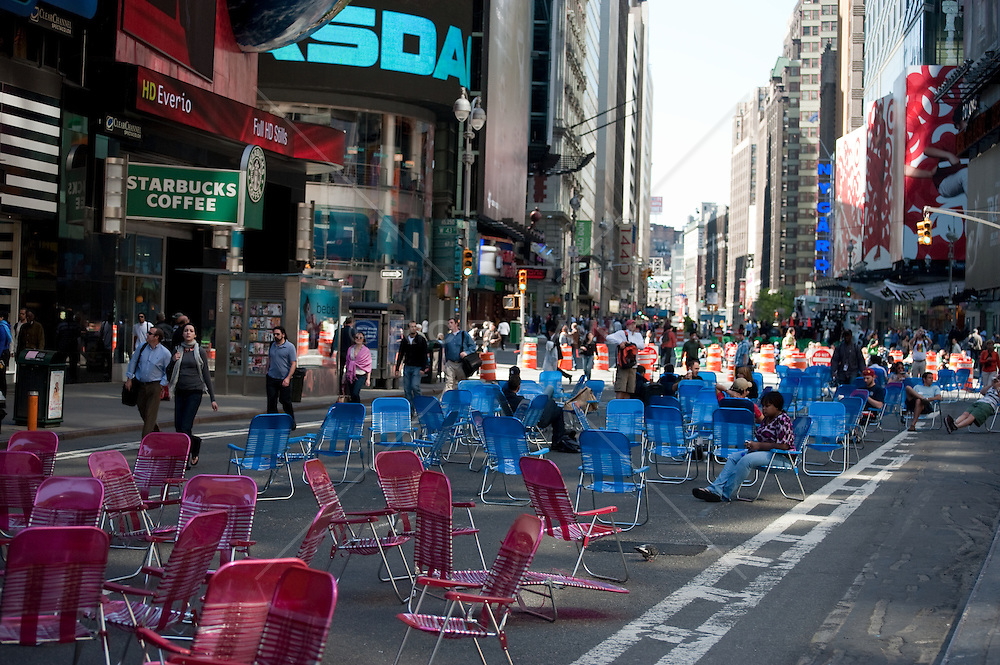 Colorful folding chairs on Broadway in Times Square, NY