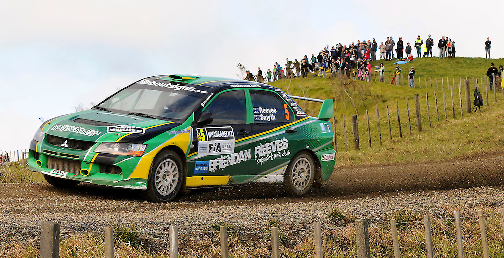 Australian driver Brendon Reeves and co-driver Rhianon Smyth competing on the final day of the International Rally of Whangarei, New Zealand, Sunday, July 17, 2011. Credit:SNPA/Malcolm Pullman..