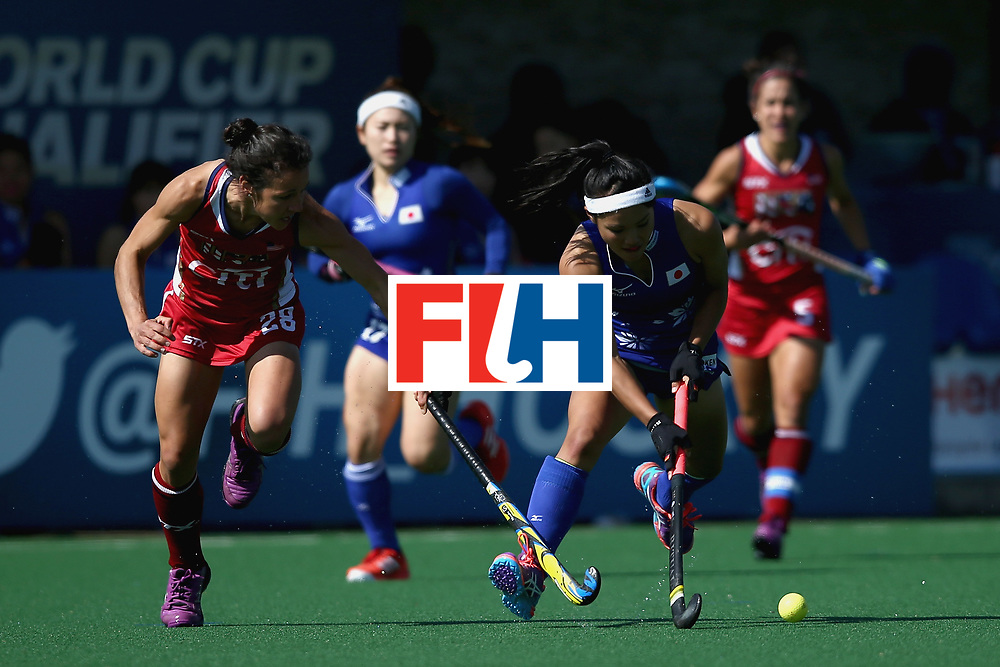 JOHANNESBURG, SOUTH AFRICA - JULY 18: Motomi Kawamura of Japan and Melissa Gonzalez of the United States battle for possession during the Quarter Final match between the United States and Japan during the FIH Hockey World League - Women's Semi Finals on July 18, 2017 in Johannesburg, South Africa.  (Photo by Jan Kruger/Getty Images for FIH)