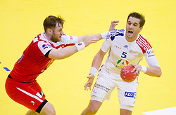 Vignir Svavarsson of Iceland vs Guillaume Gille of France during handball match between France and Iceland in  Main Round of 10th EHF European Handball Championship Serbia 2012, on January 25, 2012 in Spens Hall, Novi Sad, Serbia. (Photo By Vid Ponikvar / Sportida.com)