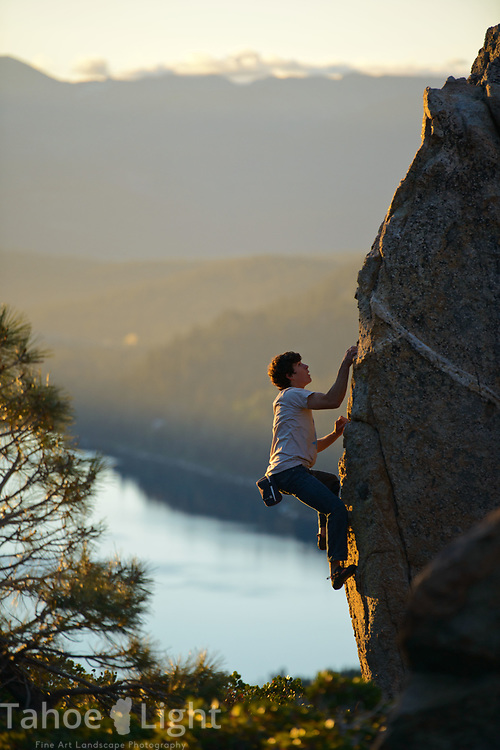 Jason Craig bouldering on donner summit at sunrise - photo Scott Sady