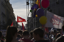 May 20, 2017 - Madrid, Madrid, Spain - Thousands of people have come to support the motion of censure (moción de censura) convened by the political party ''Podemos against the political party ''Partido Popular'', in ''Puerta del Sol'' Madrid. The motion of censure has been convened to try to throw the political party ''PP-Partido Popular'' of the government, for the corruption cases that have been occuring in the last years and especially in the last months. According to statements of party members Podemos, ''corruption in Spain in within the institutions and PP party currently in government acts with mafia practices' (Credit Image: © JesúS Calonge/Pacific Press via ZUMA Wire)