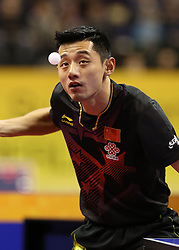 31.01.2016, Max Schmeling Halle, Berlin, GER, German Open 2016, im Bild Jike Zhang (CHN) bei der Angabe // during the table Tennis 2016 German Open at the Max Schmeling Halle in Berlin, Germany on 2016/01/31. EXPA Pictures © 2016, PhotoCredit: EXPA/ Eibner-Pressefoto/ Wuest<br /> <br /> *****ATTENTION - OUT of GER*****