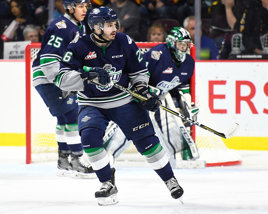 Nolan Volcan of the Seattle Thunderbirds in Game 2 of the 2017 MasterCard Memorial Cup against the Erie Otters on Saturday May 20, 2017 at the WFCU Centre in Windsor, ON. Photo by Aaron Bell/CHL Images