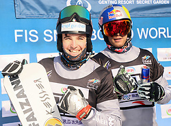 ZHANGJIAKOU, Feb. 24, 2019  Daniele Bagozza (L) and Roland Fischnaller of Italy reacts after the men's Parallel Slalom final of FIS Snowboard World Cup 2018-2019 in Zhangjiakou of north China's Hebei Province, on Feb. 24, 2019. Daniele Bagozza won the first. (Credit Image: © Luoyuan/Xinhua via ZUMA Wire)