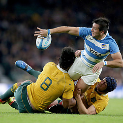 Santiagio Gonzalez Iglesias of Argentina is tackled by Lopeti Timani (8) and Dean Mumm of Australia during the The Rugby Championship match between Argentina and Australia at Twickenham Stadium, Twickenham - 08/10/2016<br /> ©Matthew Impey / Wired Photos<br /> Picture by Matt Impey +44 7789 130347