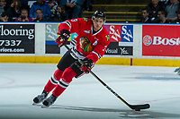 KELOWNA, CANADA - APRIL 7: Caleb Jones #3 of the Portland Winterhawks skates with the puck against the Kelowna Rockets on April 7, 2017 at Prospera Place in Kelowna, British Columbia, Canada.  (Photo by Marissa Baecker/Shoot the Breeze)  *** Local Caption ***