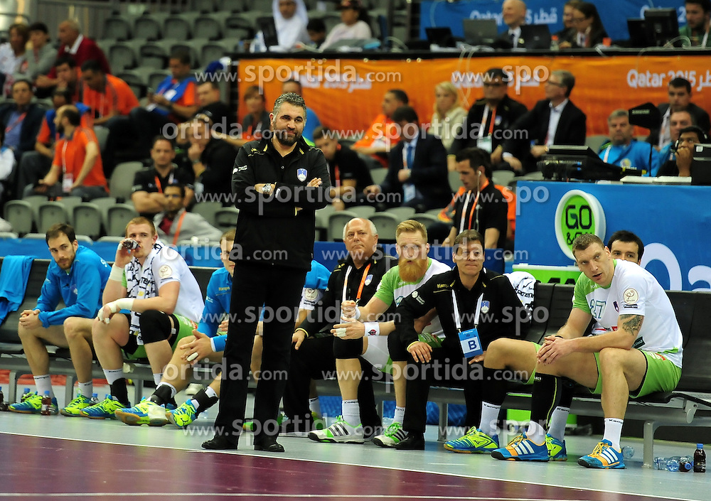 Boris Denic, head coach of Slovenia during handball match between National Teams of Slovenia and France at Day 14 in Quarter Finals of 24th Men's Handball World Championship Qatar 2015 on January 28, 2015 in Ali Bin Hamad Al-Attiyah Arena, Doha, Qatar. Photo by Slavko Kolar / Sportida