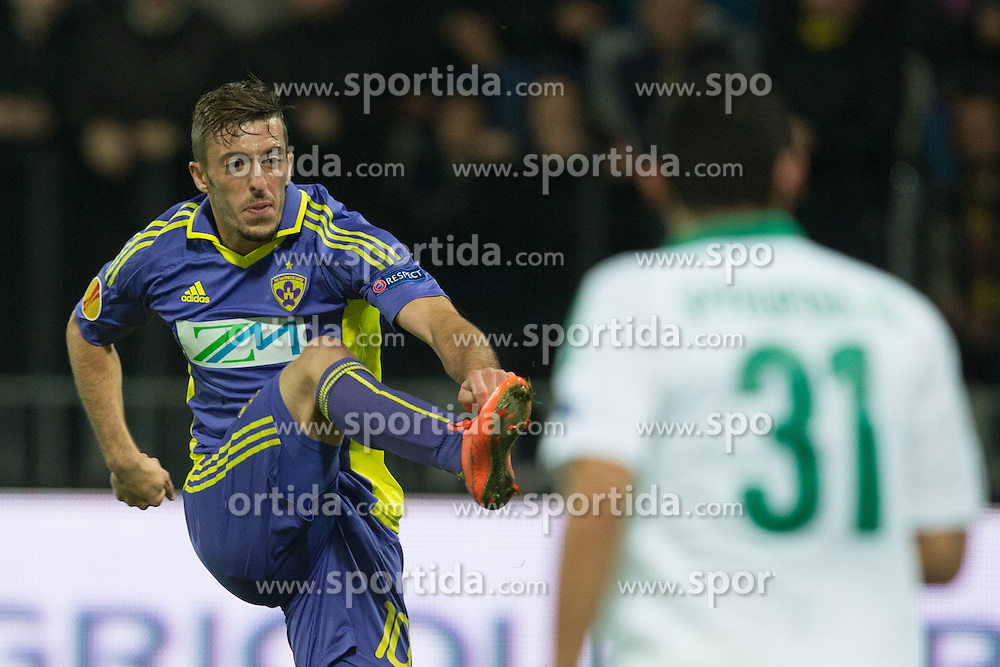 Agim Ibraimi of NK Maribor scores a goal during football match between NK Maribor and Panathinaikos Athens F.C. (GRE) in 1st Round of Group Stage of UEFA Europa league 2013, on September 20, 2012 in Stadium Ljudski vrt, Maribor, Slovenia. (Photo By Matic Klansek Velej / Sportida)
