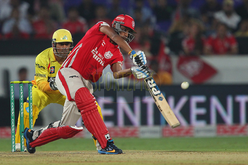 Akshar PATEL of the Kings XI Punjab  during the second semi final match of the Oppo Champions League Twenty20 between the Kings XI Punjab and the Chennai Superkings held at the Rajiv Gandhi Cricket Stadium, Hyderabad, India on the 2nd October 2014<br /> <br /> Photo by:  Ron Gaunt / Sportzpics/ CLT20<br /> <br /> <br /> Image use is subject to the terms and conditions as laid out by the BCCI/ CLT20.  The terms and conditions can be downloaded here:<br /> <br /> http://sportzpics.photoshelter.com/gallery/CLT20-Image-Terms-and-Conditions-2014/G0000IfNJn535VPU/C0000QhhKadWcjYs