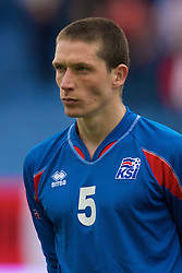 REYKJAVIK, ICELAND - Wednesday, May 28, 2008: Iceland's Atli Sveinn Thorarinsson lines-up before the international friendly match against Wales at the Laugardalsvollur Stadium. (Photo by David Rawcliffe/Propaganda)
