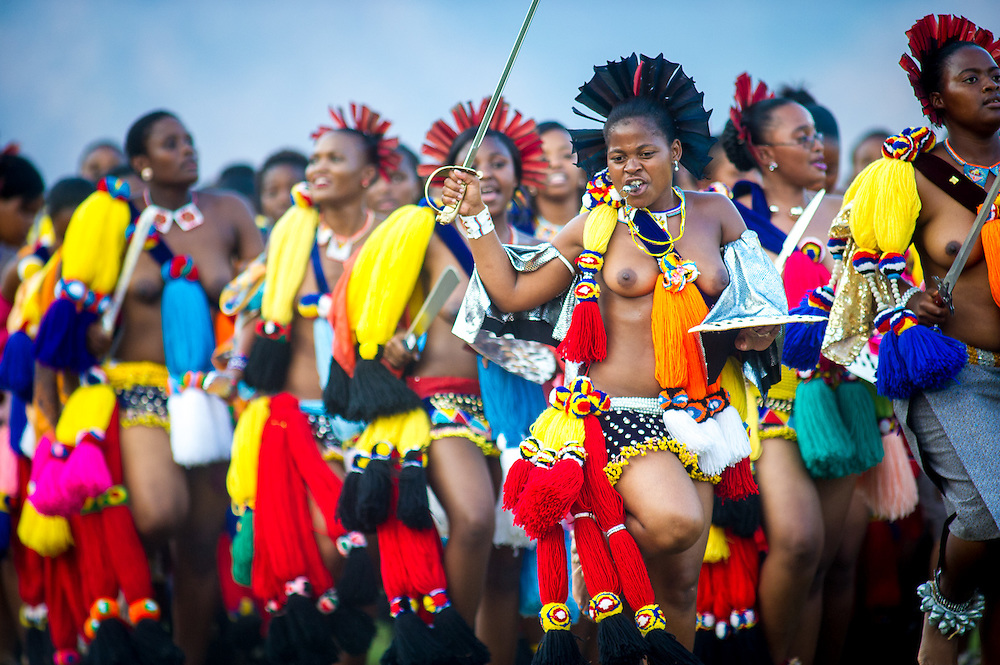 Ludzidzini, Swaziland, Africa - Umhlanga, reed dance ceremony<br /> Maidens present cut reeds to the queen mother of Swaziland for her Kraal