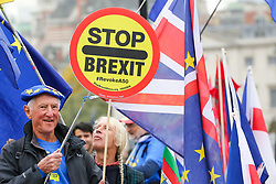 © Licensed to London News Pictures. 23/10/2019. London, UK. An anti-Brexit protester holds a 'STOP BREXIT' sign outside The Houses of Parliament in Westminster. On Tuesday 22 October 2019, MPs rejected Prime Minister BORIS JOHNSON?S fast-track timetable for ratifying the Brexit deal and the government ?paused? the parliamentary process ? almost certainly ending any prospect of Brexit on 31 October.Photo credit: Dinendra Haria/LNP