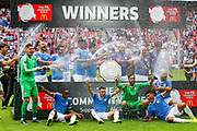 Manchester City celebrate winning the Charity Shield during the FA Community Shield match between Manchester City and Liverpool at Wembley Stadium, London, England on 4 August 2019.