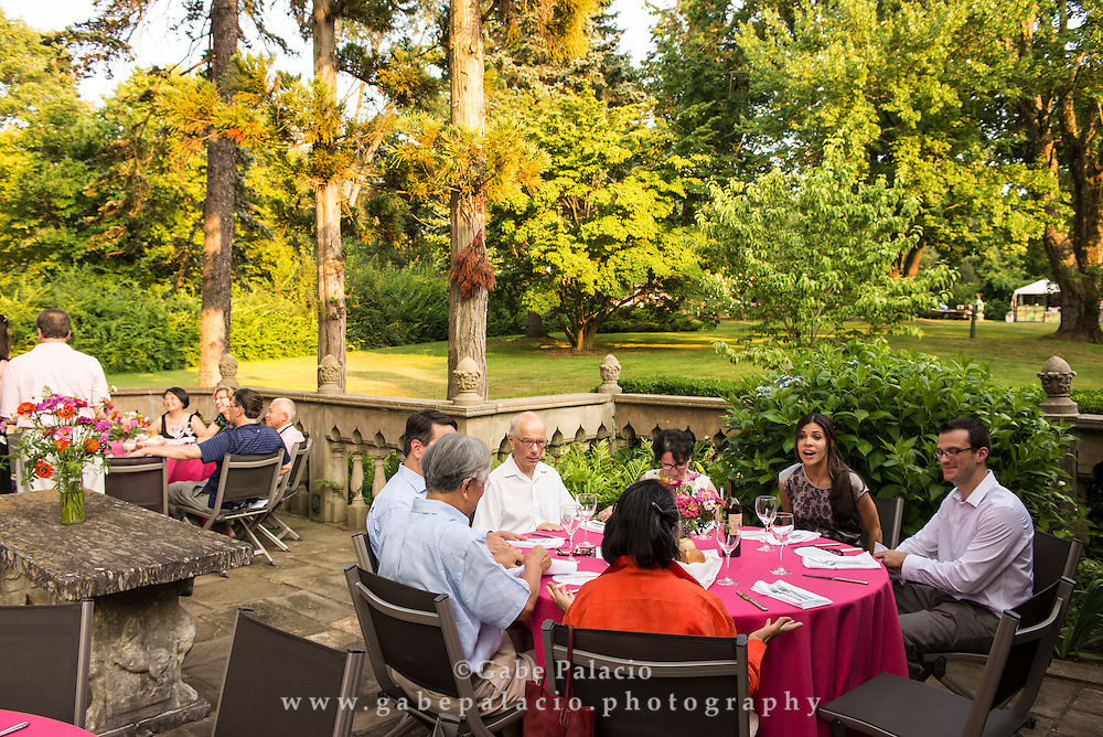Dinner on the East Porch of the Rosen House at Caramoor in Katonah New York, on July 19, 2013.<br /> photo by Gabe Palacio