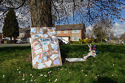 Thanks to all NHS and key worker sign outside housing during Coronavirus pandemic, Tilehurst, Reading UK March 2020