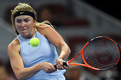 BEIJING, Oct. 6, 2017  Elina Svitolina of Ukraine hits a return during the women's singles quarter-final match against Caroline Garcia of France at the China Open tennis tournament in Beijing on Oct. 6, 2017.  dx) (Credit Image: © Ju Huanzong/Xinhua via ZUMA Wire)