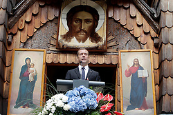 26.07.2015, Vrsic, SLO, Staatsbesuch von Russlands Ministerpräsident Dmitri Medwedew in Slovenien, Gedenken an gefallene Russische Solaten im Ersten Weltkrieg, im Bild Rullands Premier Minister Dmitry Medvedev // at the mountain pass Vrsic paid tribute to the soldiers of imperial Russia. They were killed in an avalanche in the Austrian captivity 99 years ago. The Russian chapel is not only a reminder of the tragedy of the First World War, it is a symbol of peace and friendship between Slovenia and Russia. Vrsic, Slovenia on 2015/07/26. EXPA Pictures © 2015, PhotoCredit: EXPA/ Pixsell/ Srdjan Zivulovic<br /> <br /> *****ATTENTION - for AUT, SLO, SUI, SWE, ITA, FRA only*****