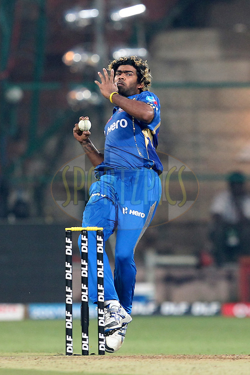 Lasith Malinga bowls during match 62 of the the Indian Premier League ( IPL) 2012  between The Royal Challengers Bangalore and the Mumbai Indians held at the M. Chinnaswamy Stadium, Bengaluru on the 14th May 2012..Photo by Prashant Bhoot/IPL/SPORTZPICS
