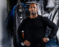 LONDON, ENGLAND, SEPTEMBER 13, 2013: UFC light-heavyweight fighter Jimi Manuwa poses for a portrait inside London Fight Factory in London, England on September 13, 2013 © Martin McNeil