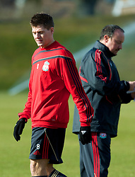 LIVERPOOL, ENGLAND - Wednesday, March 10, 2010: Liverpool's manager Rafael Benitez and captain Steven Gerrard MBE during training at Melwood Training Ground ahead of the UEFA Europa League match against LOSC Lille Metropole. (Photo by David Rawcliffe/Propaganda)