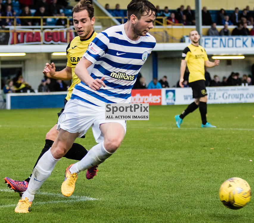 Livingston's Scott Pittman fails to stop Morton's Lee Kilday during the Greenock Morton FC V Livingston FC Ladbrokes Scottish Championship game played at Cappielow Park, Greenock on 7th November 2015; (c) BERNIE CLARK | SportPix.org.uk