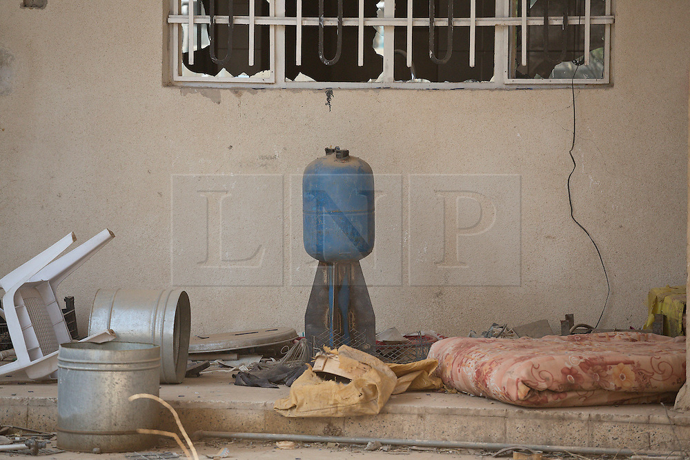 Licensed to London News Pictures. 23/10/2016. An Islamic State improvised rocket is seen in the recently liberated Iraqi town of Bartella.<br /> <br /> Bartella, a mainly Christian town with a population of around 30,000 people before being taken by the Islamic State in August 2014, was captured two days ago by the Iraqi Army's Counter Terrorism force as part of the ongoing offensive to retake Mosul. Although ISIS militants were pushed back a large amount of improvised explosive devices are still being found in the town's buildings. Photo credit: Matt Cetti-Roberts/LNP