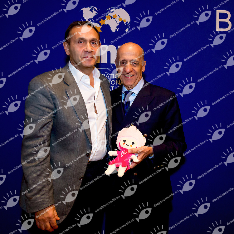 Tamas Gyarfas, Julio Maglione with Budapest 2017 World Championships Mascotte<br /> FINA 4th World Aquatics Convention<br /> Bureau Meeting Windsor  Dec. 2nd, 2016<br /> Caesar's Casino - Windsor Ontario Canada CAN <br /> 20161202 Caesar's Casino - Windsor Ontario Canada CAN <br /> Photo &copy; Giorgio Scala/Deepbluemedia/Insidefoto