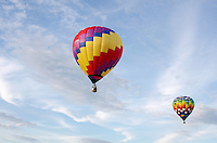 'Wicked' and 'Easy Rider' in flight, Crown of Maine Balloon Fair, Presque Isle, Maine.
