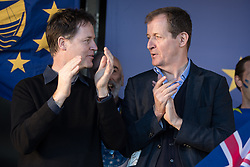 © Licensed to London News Pictures . 25/03/2017 . London , UK . NICK CLEGG and ALASTAIR CAMPBELL. A Unite for Europe anti Brexit march through central London , from Park Lane to Westminster . Protesters are campaigning ahead of the British government triggering Article 50 of the Lisbon Treaty which will initiate Britain's withdrawal from the European Union . Photo credit : Joel Goodman/LNP
