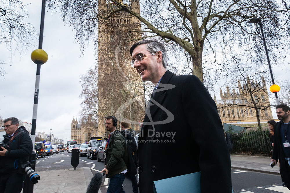 Jacob Rees-Mogg is seen outside the Houses of Parliament as MPs debate Prime Minister Theresa Mays's Brexit deal. London, January 15 2019.