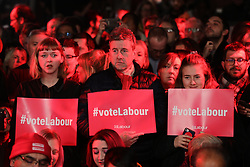 © Licensed to London News Pictures. 11/12/2019. London, UK. Supporters wait for Leader of the Labour Party Jeremy Corbyn at a rally in Hoxton, East London. Voters will head to polling stations tomorrow for the 2019 General Election. Photo credit: Rob Pinney/LNP