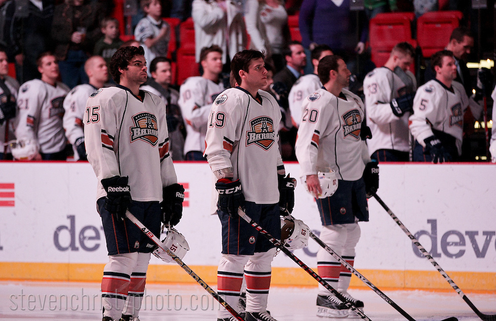 February 17, 2012: The Oklahoma City Barons play the Milwaukee Admirals in an American Hockey League game at the Cox Convention Center in Oklahoma City.