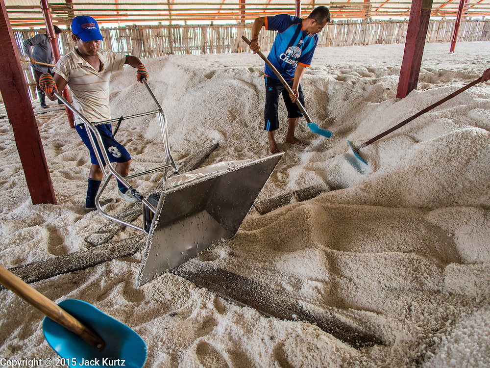 09 MARCH 2015 - NA KHOK, SAMUT SAKHON, THAILAND: Workers in a warehouse stack salt during the salt harvest. The coastal provinces of Samut Sakhon and Samut Songkhram, about 60 miles from Bangkok, are the center of Thailand's sea salt industry. Salt farmers harvest salt from the waters of the Gulf of Siam by flooding fields and then letting them dry through evaporation, leaving a crust of salt behind. Salt is harvested through dry season, usually February to April. The 2014 salt harvest went well into May because the dry season lasted longer than normal. Last year's harvest resulted in a surplus of salt, driving prices down. Some warehouses are still storing salt from last year. It's been very dry so far this year and the 2015 harvest is running ahead of last year's bumper crop. One salt farmer said prices are down about 15 percent from last year.    PHOTO BY JACK KURTZ