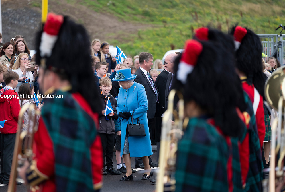 HRH Queen Elizabeth arrives at South Queensferry to officially open the  Queensferry Crossing Bridge on 4 September 2017.