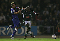 Photo: Lee Earle.<br /> Plymouth Argyle v Cardiff City. Coca Cola Championship. 12/09/2006. Cardiff's Stephen McPhail (L) battles with Barry Hayles.