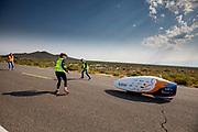 Jennifer Breet tijdens de ochtendruns op de derde racedag. Het Human Power Team Delft en Amsterdam, dat bestaat uit studenten van de TU Delft en de VU Amsterdam, is in Amerika om tijdens de World Human Powered Speed Challenge in Nevada een poging te doen het wereldrecord snelfietsen voor vrouwen te verbreken met de VeloX 9, een gestroomlijnde ligfiets. Op 10 september 2019 verbreekt het team met Rosa Bas het record met 122,12 km/u. De Canadees Todd Reichert is de snelste man met 144,17 km/h sinds 2016.<br /> <br /> With the VeloX 9, a special recumbent bike, the Human Power Team Delft and Amsterdam, consisting of students of the TU Delft and the VU Amsterdam, wants to set a new woman's world record cycling in September at the World Human Powered Speed Challenge in Nevada. On 10 September 2019 the team with Rosa Bas a new world record with 122,12 km/u.  The fastest man is Todd Reichert with 144,17 km/h.