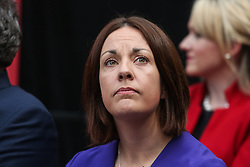 © Licensed to London News Pictures. 16/05/2017. Bradford, UK. Kezia Dugdale, the leader of Scottish Labour watches on as Labour leader Jeremy Corbyn launches the Labour Party's 2017 general election manifesto at an event at Bradford University in West Yorkshire. Photo credit : Ian Hinchliffe/LNP